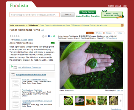 That's my fiddlehead picture. Foodista makes me famous, even though I chose to remain anonymous in this case.