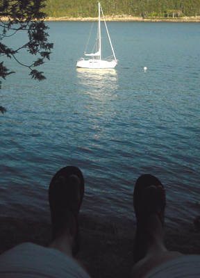 My sandals and I enjoy the view...just hours before one of them would disappear forever.