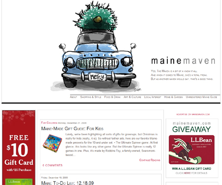 The Maine Maven keeps things fresh and graphically pleasing with a periodically changing Maine related illustration. And that's just the beginning of the thoughtful design.