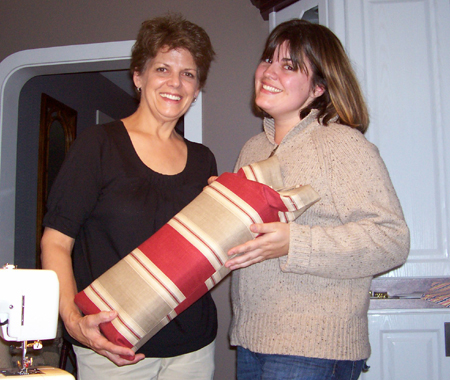 Nicole and Nicole's mom holding up Nicole's mom's successful project. The best thing about moms? They let you hold up a project like you helped when all you did was walk in the room when the photo was taken.