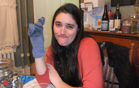 Sue was uninspired by her sock for a good part of the evening... And she looks disappointed because, you know, making a gorgeous sock puppet is such a useful life skill.