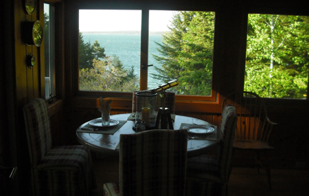 Frenchman's Bay off the enclosed porch at the Inn at Bay Ledge. Yeah, I know, pretty fantastic, huh?