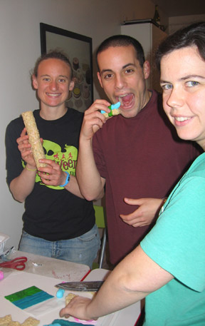 Kiri, Keith, and Sarah enjoying a little merge of American and Japanese traditions. Yum.
