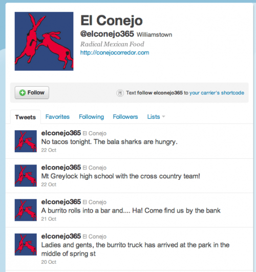 El Conejo's Twitter feed automatically posts to Facebook. And with slightly over 100 people following them on Twitter and 500ish following on Facebook, 600ish people can be reached with a single tweet.