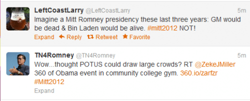 Using the #mitt2012 hashtag on Twitter allows anyone to join the online conversation.
