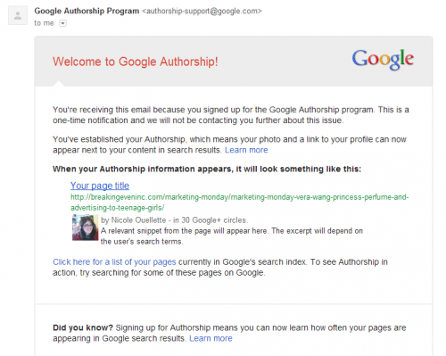 Google emailed me, I'm famous!