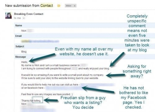When you contact your new blogger friends, don't do this. Remember it's about relationships people!