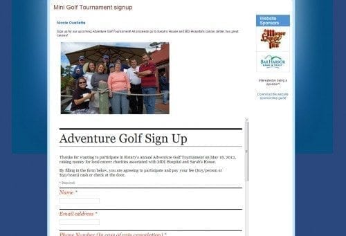 This is my local Rotary club's website which runs on Clubrunner. Can you make a form in Clubrunner software? Maybe but I wasn't going to spend a lot of time figuring it out. So I embedded this signup for our upcoming mini golf tournament on their site.