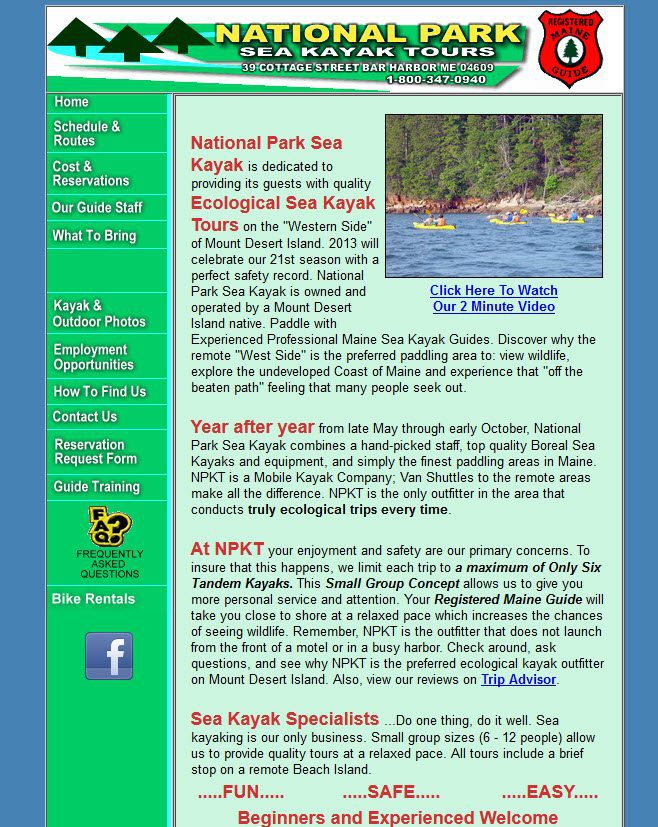 The old National Park Sea Kayak homepage was text heavy and needed an update.