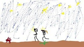 A crude artistic rendition of the incident. Note: There was actually a bunny, and the stars were amazing.
