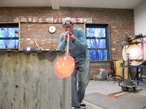 derrick-blowing-glass