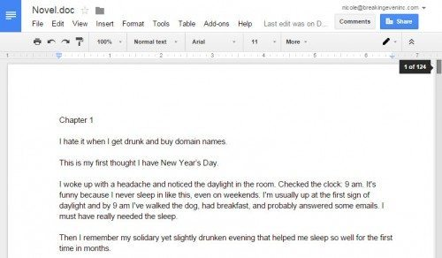 The beginning of my terrible novel, sitting in Google Drive, wondering its fate.