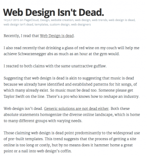 PageCloud's response to the idea that 'web design is dead'