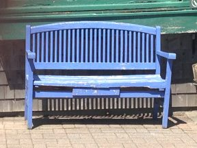 The blue bench outside Firefly Lane